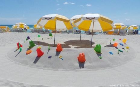 Photo: Courtyard Cadillac Hotel beach umbrellas and toys