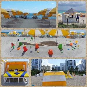 Collage: The beach at the Courtyard Cadillac Hotel