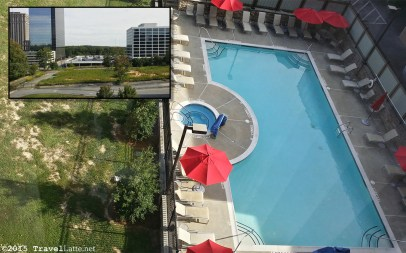 Our view at the Atlanta Marriott Buckhead overlooked the pool, but not much else.