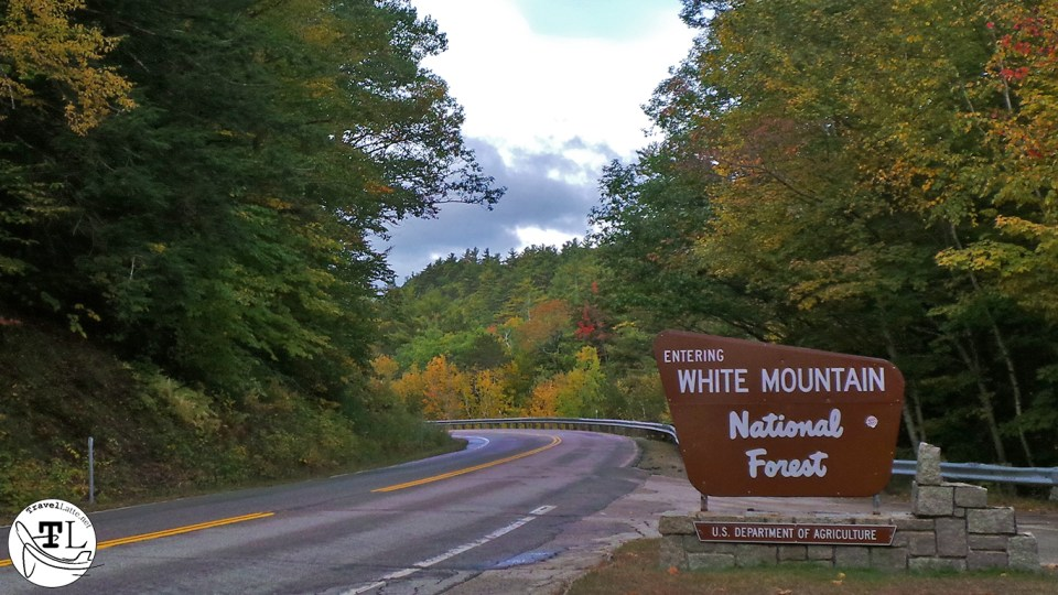 Entering the White Mountains National Forest on the Kancamagus Highway