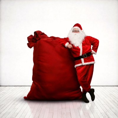 Photo: Santa and his big bag of gifts.