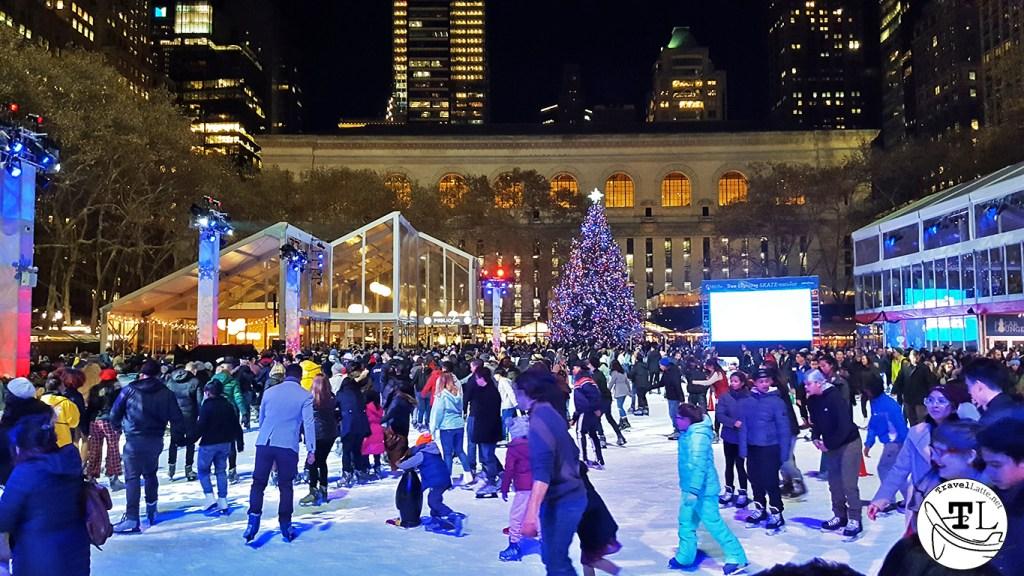 Bryant Park ice skating - Christmas in New York via TravelLatte.net