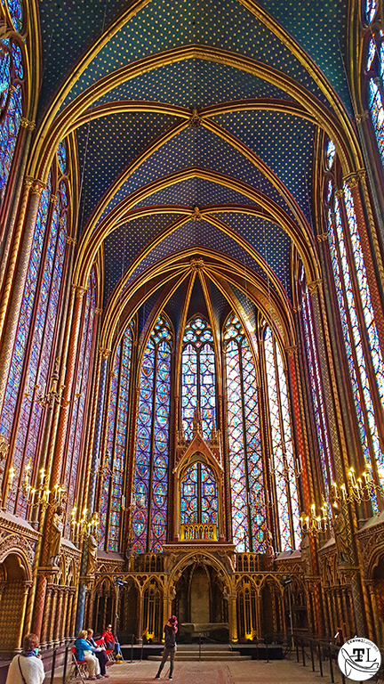 The upper chapel of Sainte Chapelle in The Most Magnificent Windows in Paris via @TravelLatte.net