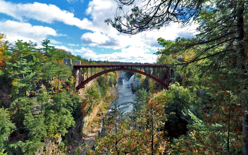 Highway 9 Bridge & Rainbow Falls - Visiting Ausable Chasm, the Adirondack's Grand Canyon - TravelLatte
