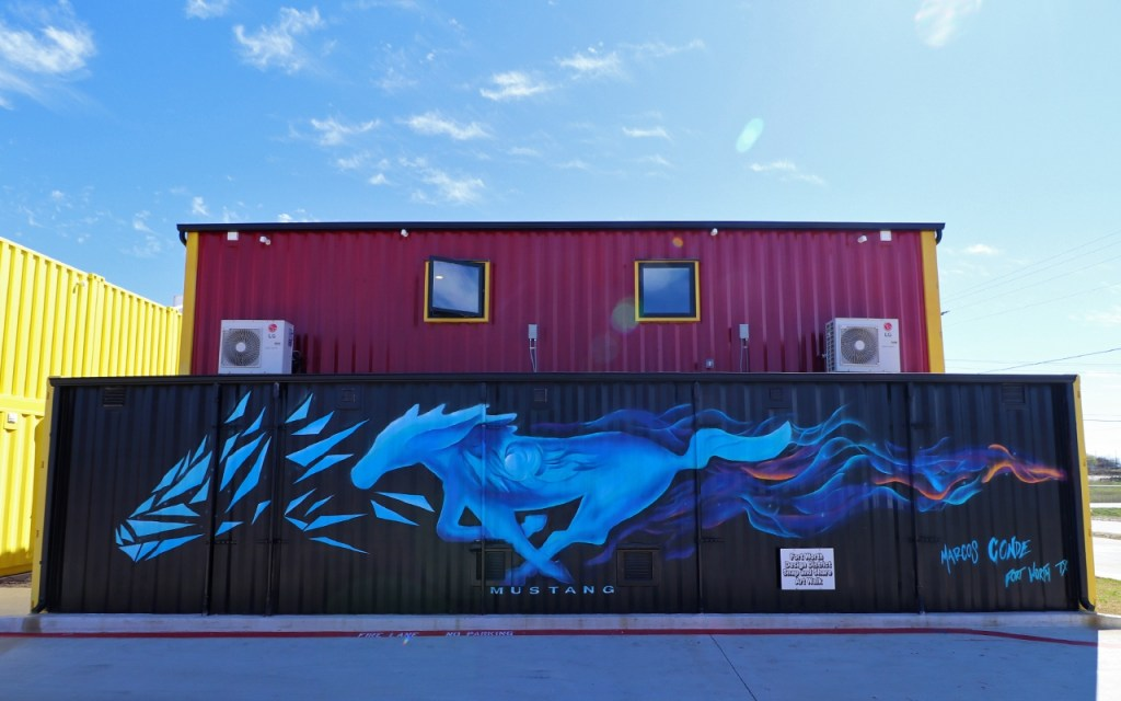 Mustang Street Art Mural - Brilliant Street Art in the Design District of Fort Worth at TravelLatte.net