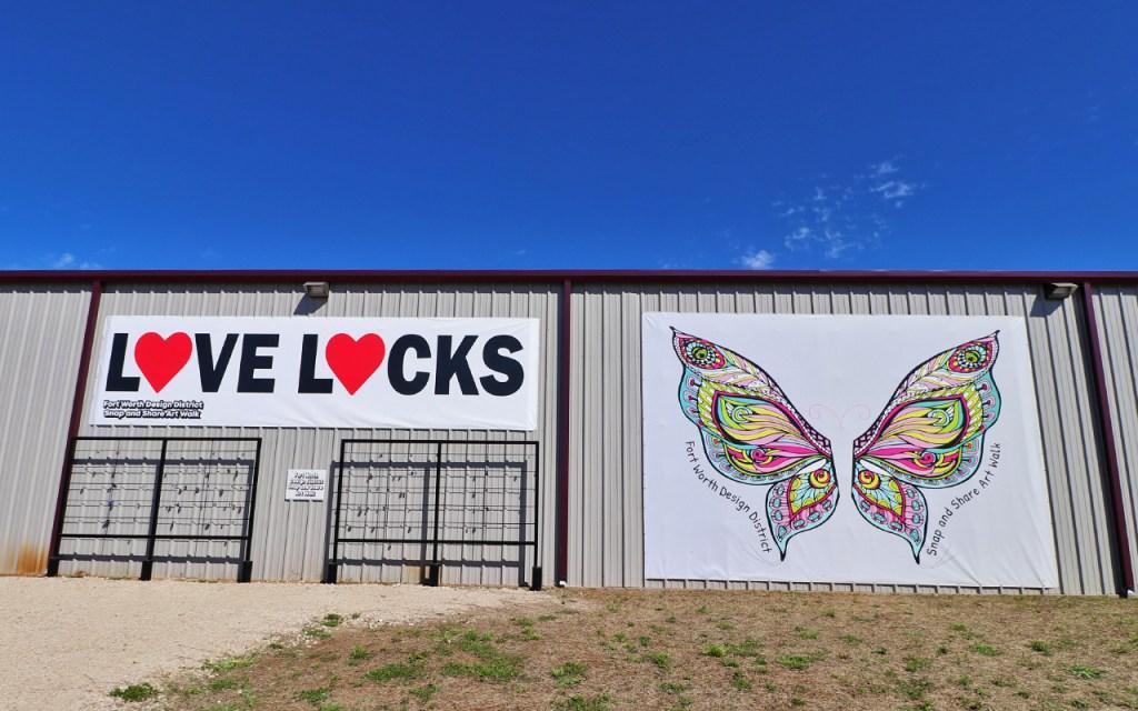 Love Locks & Painted Wings Street Art Mural - Brilliant Street Art in the Design District of Fort Worth at TravelLatte.net