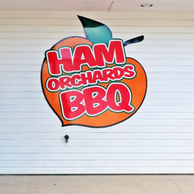 Ham Orchards BBQ sign on TravelLatte.net