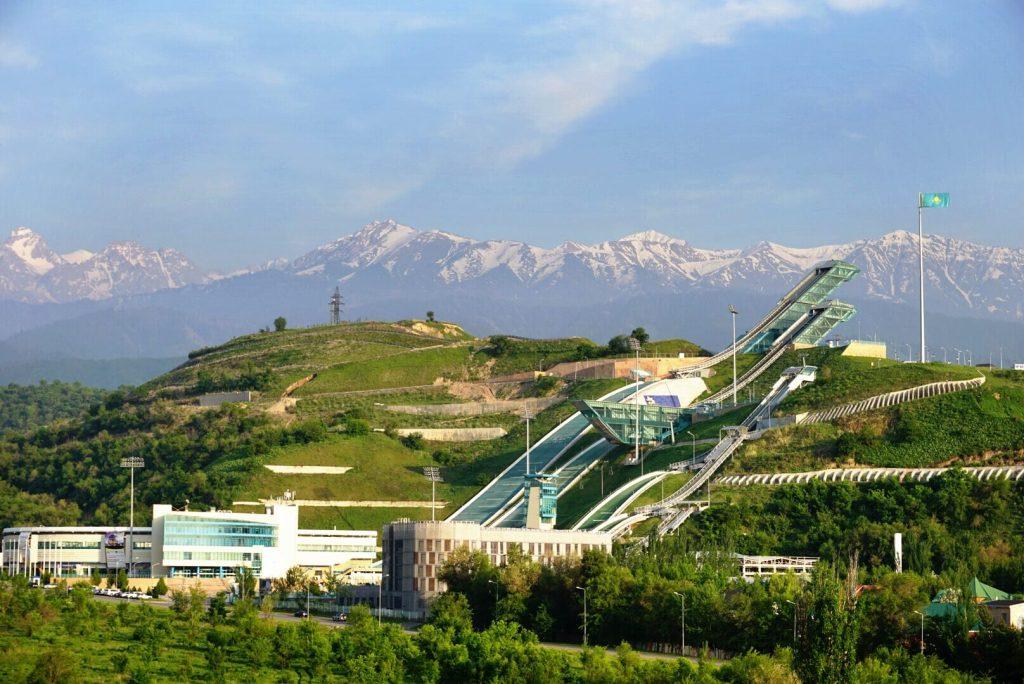 A ski jumping complex in Almaty