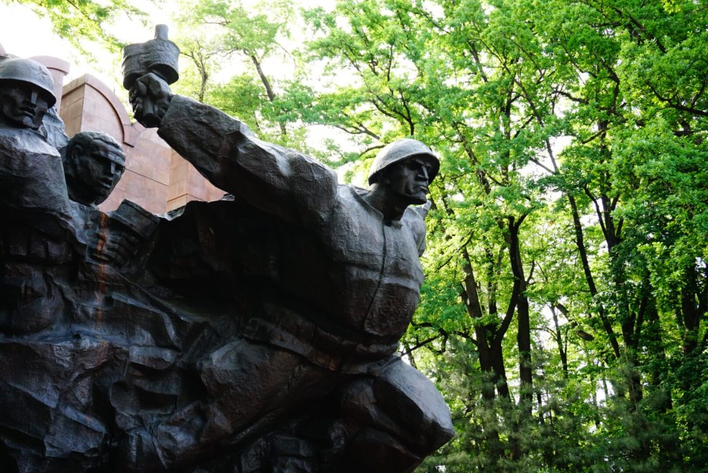 A war memorial in one of Almaty's many parks