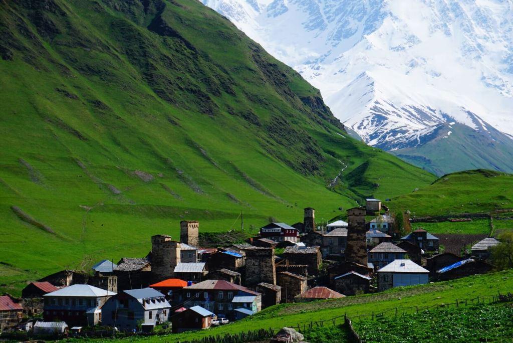 Ushguli town in Svaneti Georgia