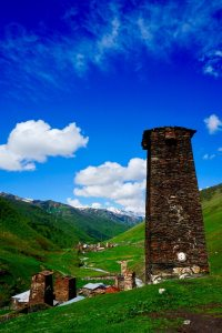 A watchtower stands guard in Svaneti Georgia