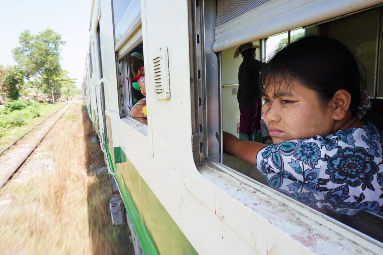 Myanmar photos Yangon circle line train