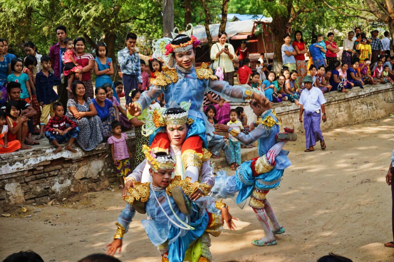 Myanmar photos colorful dancers in parade in Bagan