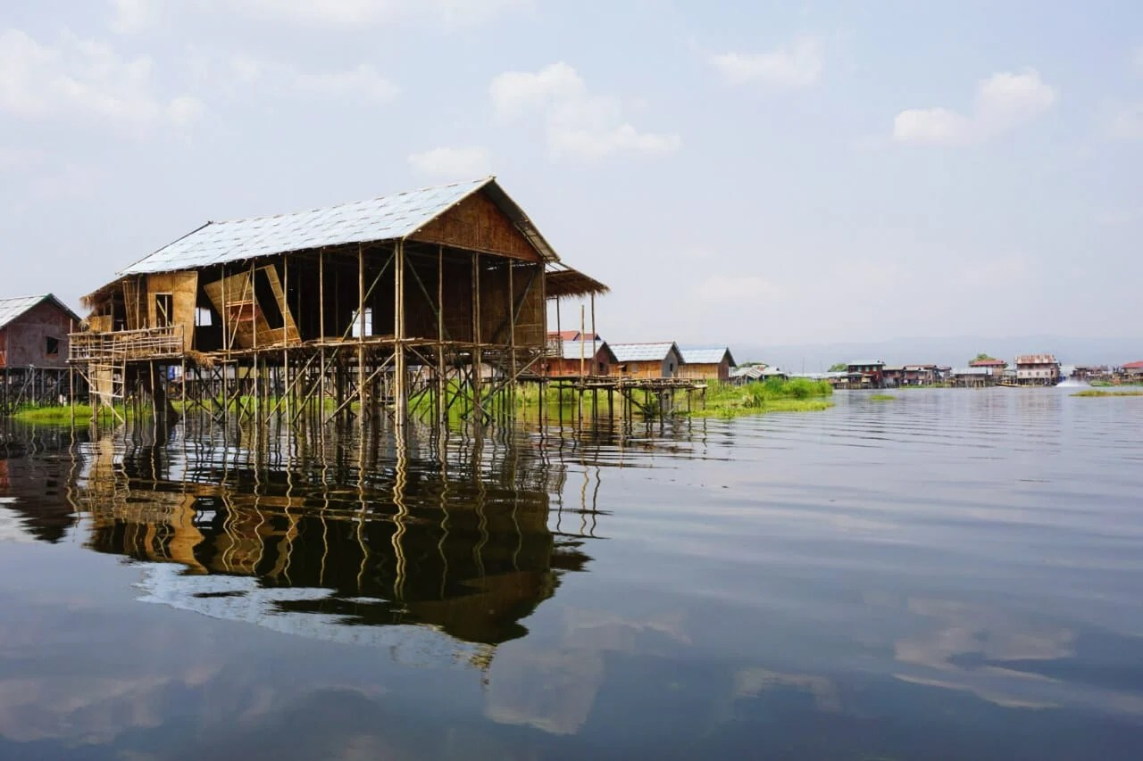 Myanmar photos stilts holding houses over Lake Inle