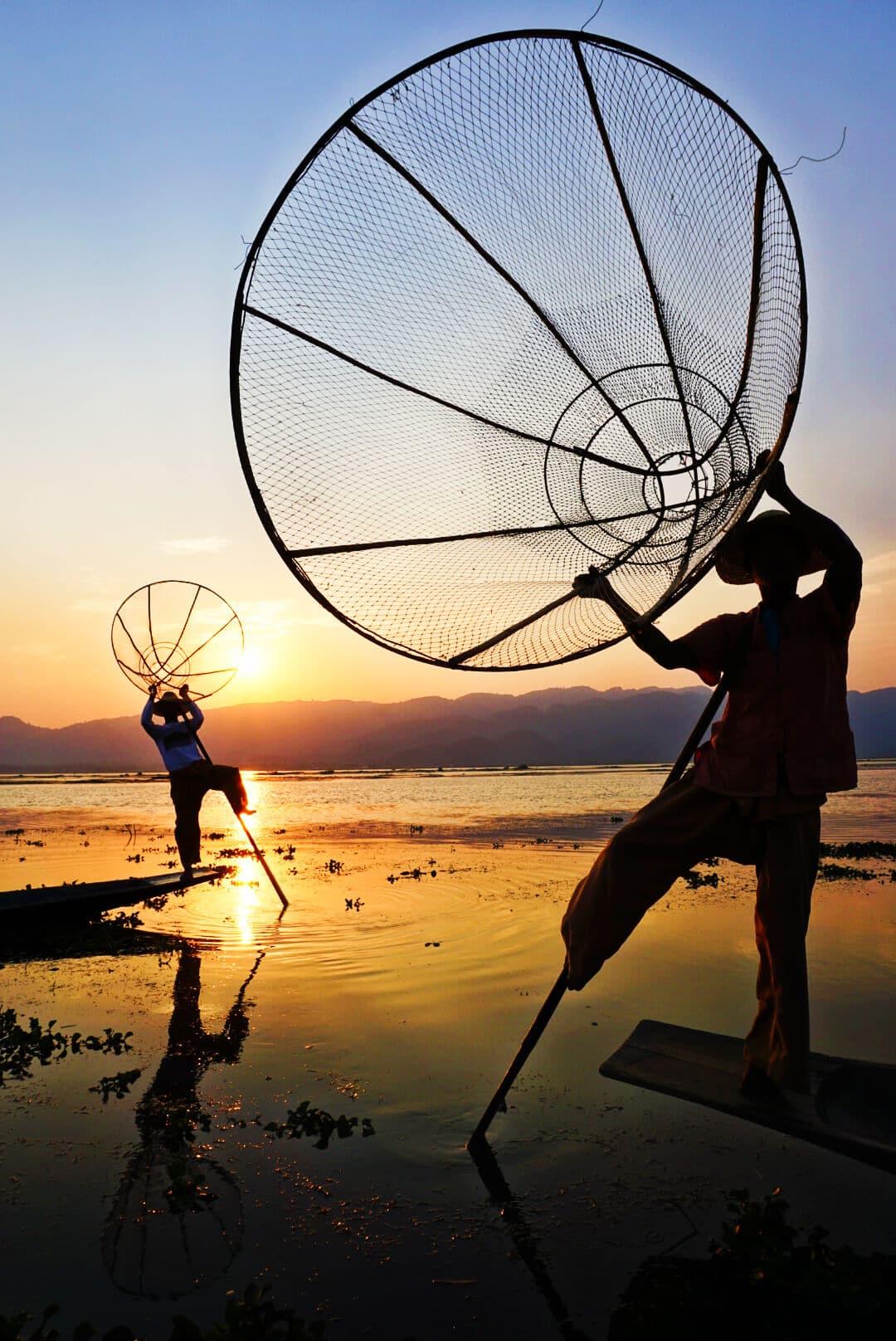 Myanmar photos fishermen with nets on Lake Inle Burma