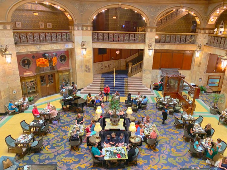 View of lobby of the Brown Palace Hotel