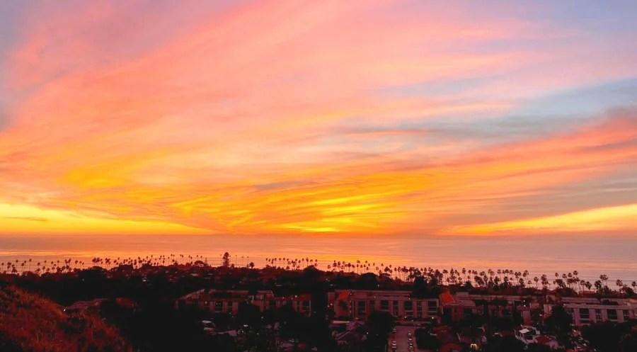 Scenic view of the sunset and La Jolla in Mt. Soledad National Veterans Memorial