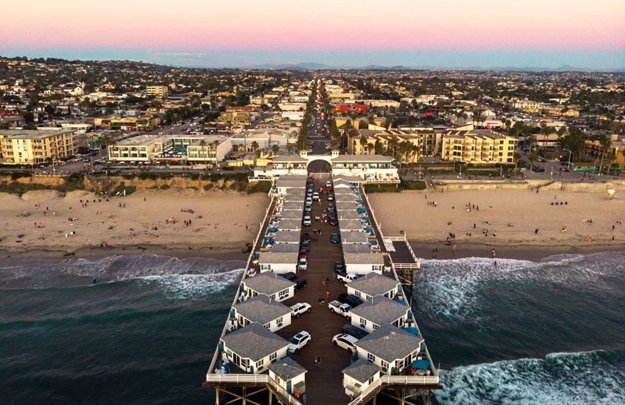 Aerial view of the pier in San Diego and the Pacific Beach