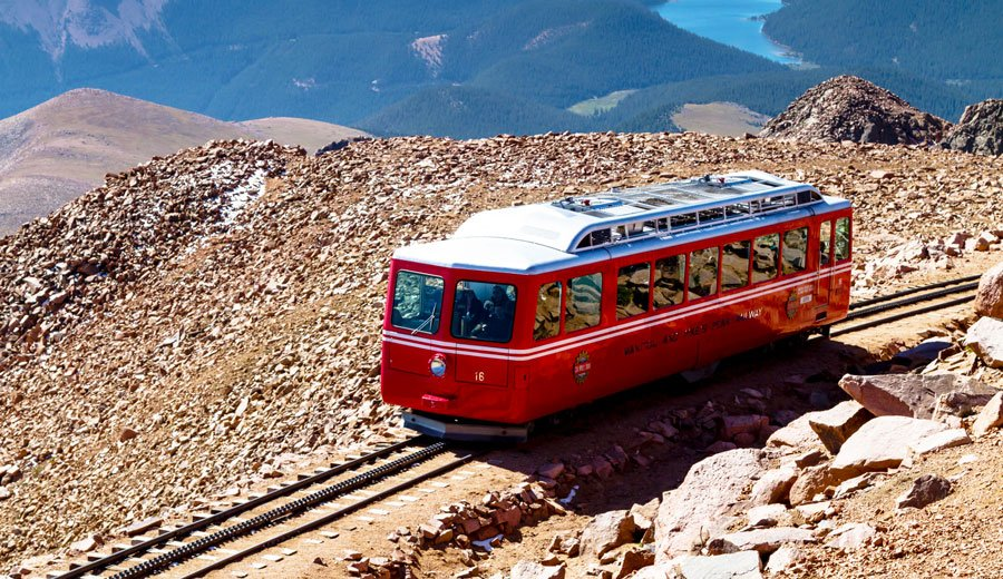 View of a pikes peak cog railway car at the top