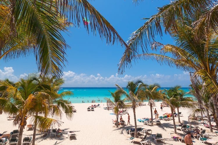 Sunbathers and palm trees dot the landscape in Playacar Beach, Playa del Camren