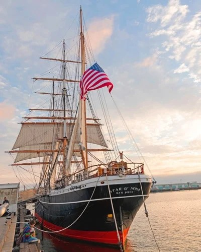 View of the Star of India ship in San Diego