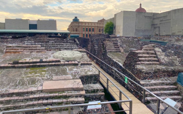 View of the excavation site at Mexico City's Templo Mayor