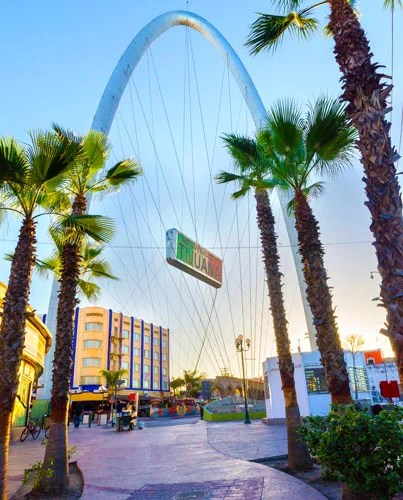 View of the metallic arch at the entrance of Tijuana