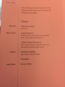 Sample of night flight Menu
