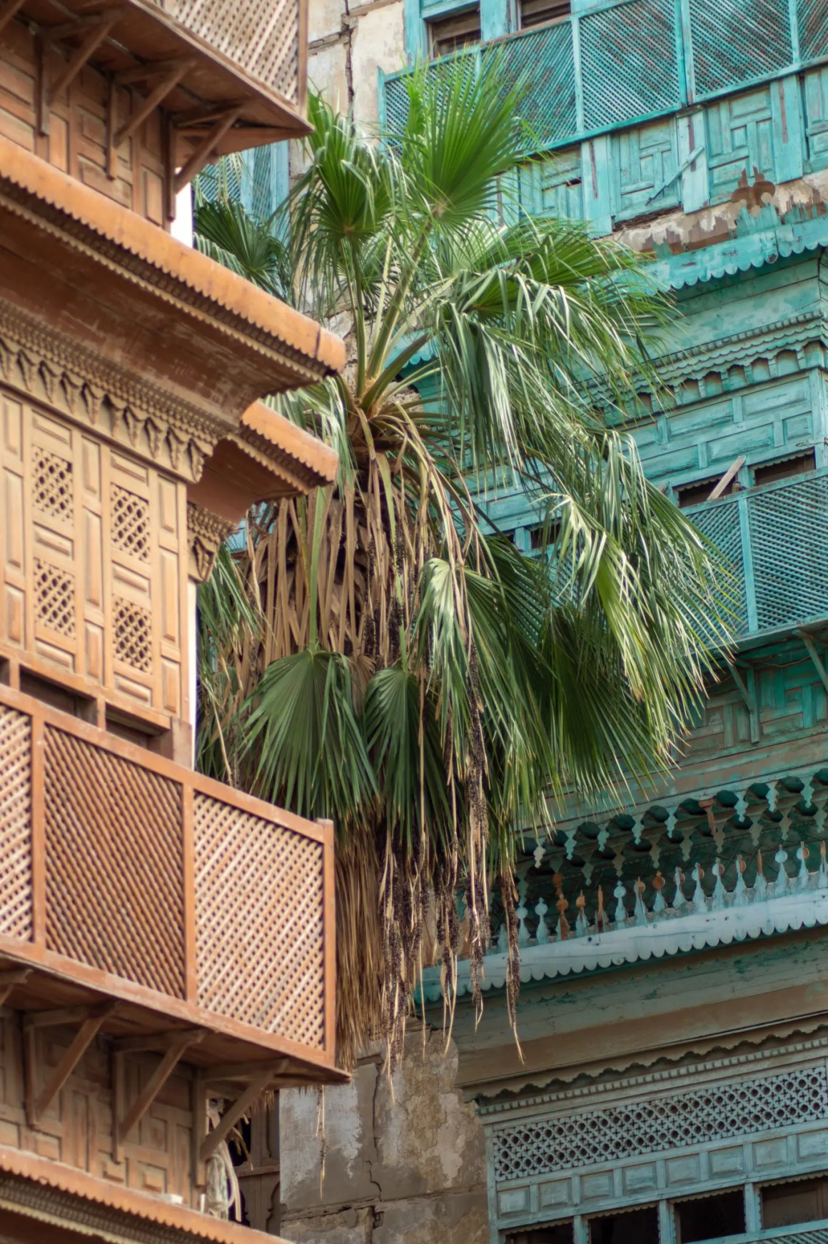 Palmbomen en houten details op de huizen in de oude binnenstad van Jeddah