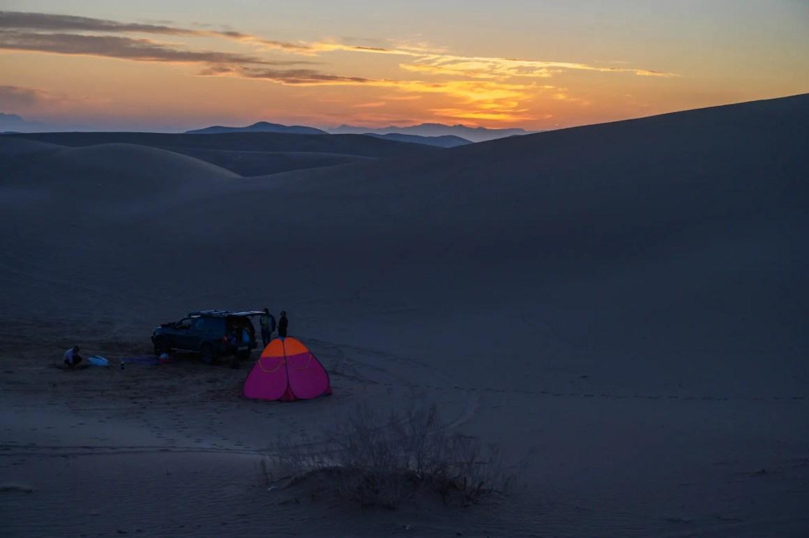 Tent in de Varzaneh-woestijn