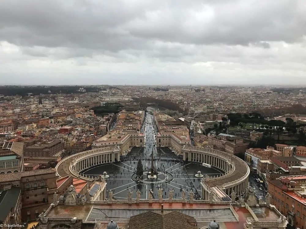 View of St. Peter's Square from St. Peter's Dome in Rome, visit Rome in winter