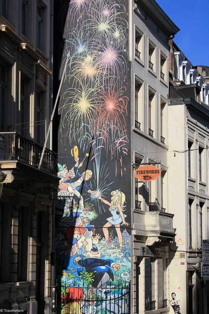 Tintin street art i Brussel