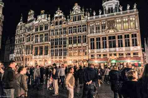 Grand Place i kveldens mørket