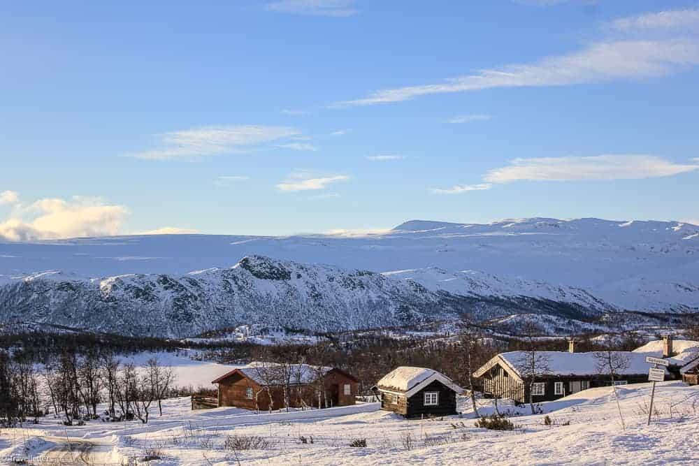 Snowy Norwegian mountain village Beitostølen
