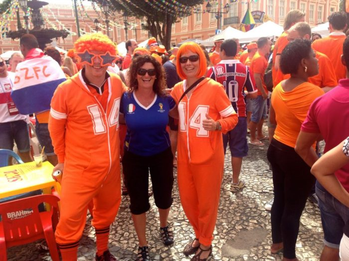 The Dutch fans were so much fun! Salvador QF Netherlands v Costa Rica