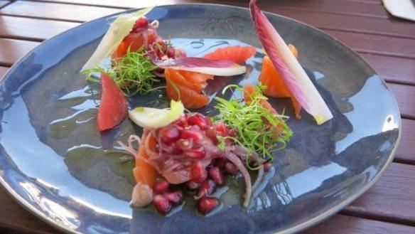 Sugar cured salmon, pomegranate, za'atar and grapefruit