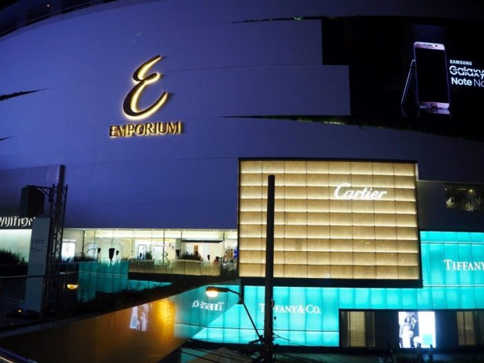 Massive LED screens on the outside of the very posh Emporium Shopping Mall