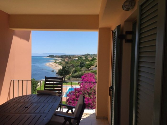 The terrace at our villa in Skala