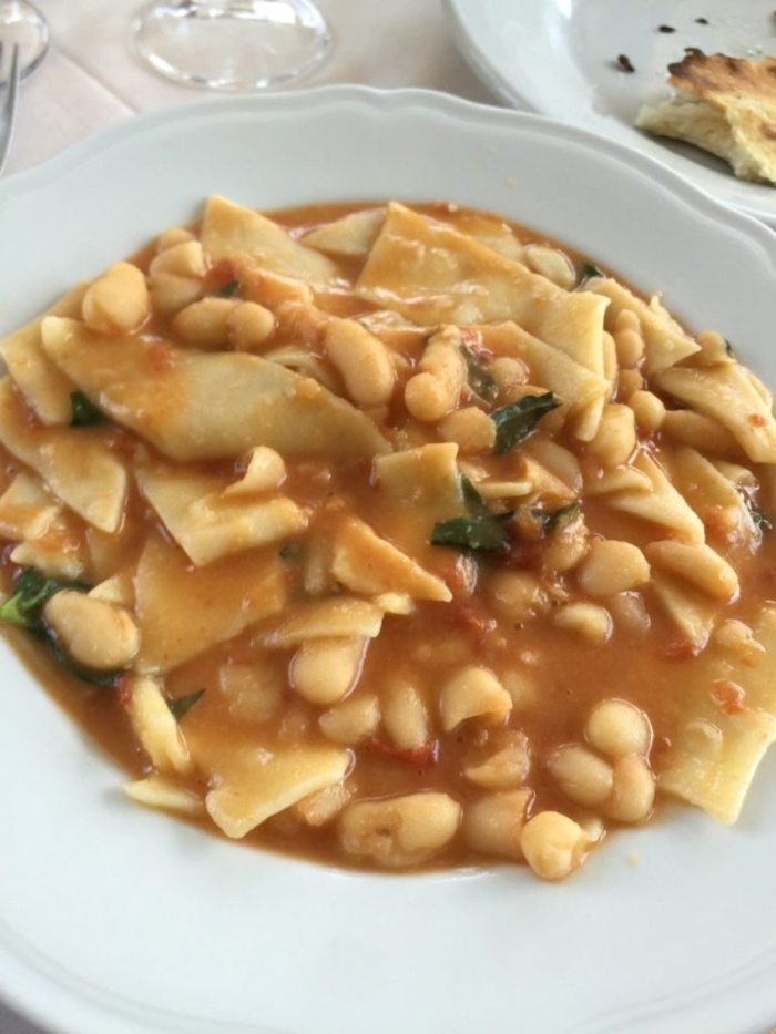 Pasta e fagioli with red sauce