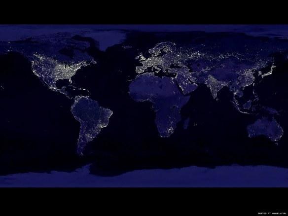 земля ночью фото со спутника