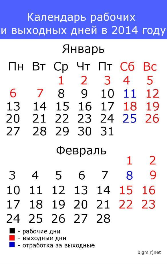 график рабочих и выходных новый год 2014