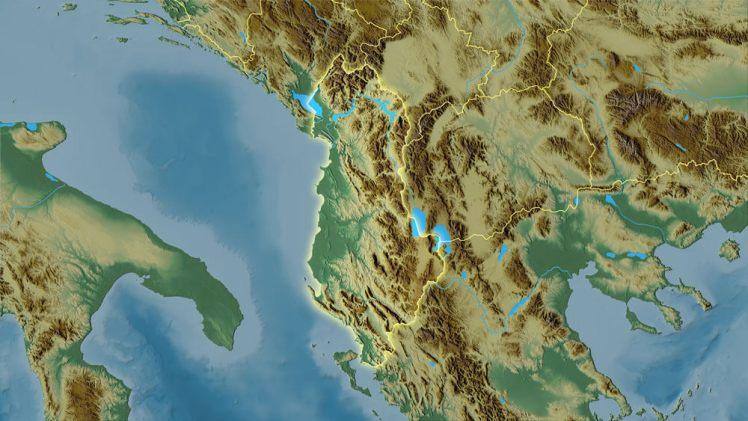 Ligging van Albanië.