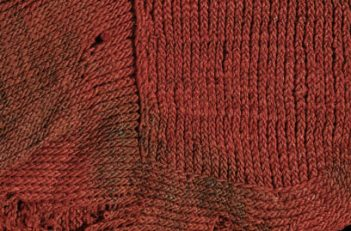 The stitches look very like the classic v shape that the knit stitch creates.