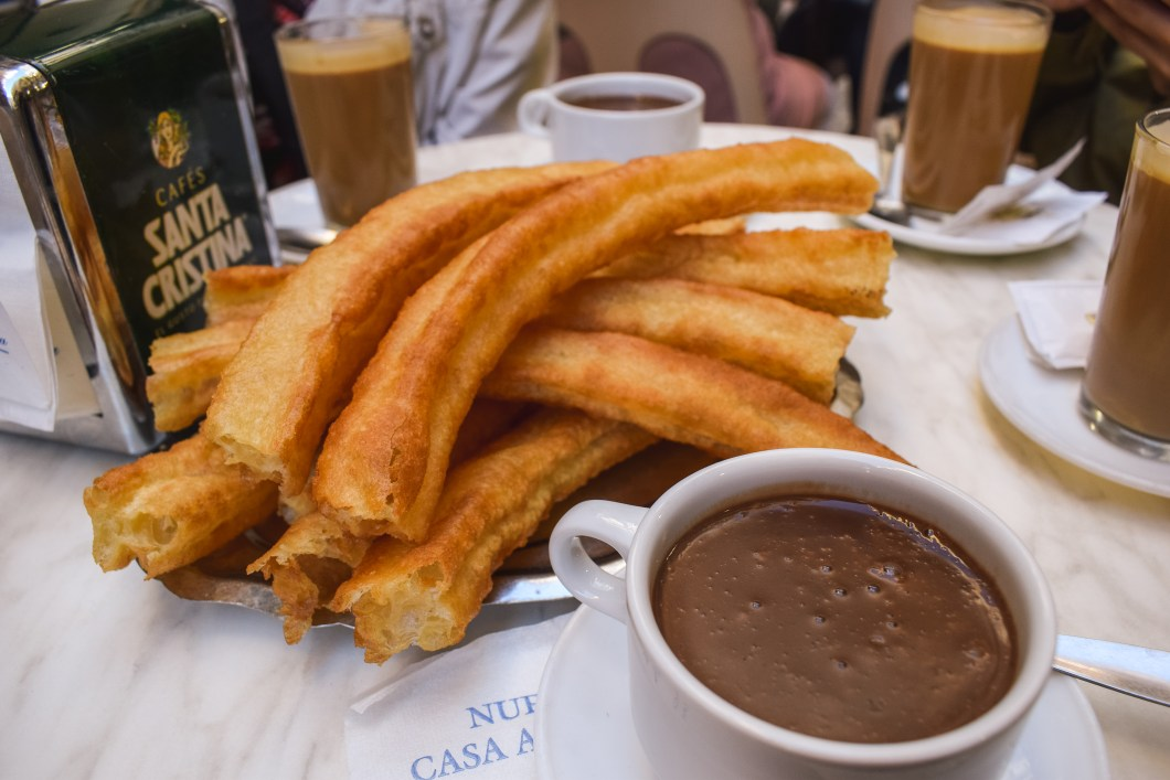 Churros with chocolate in Malaga - foods and drinks
