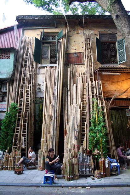 Bamboo street Old Quarter Hanoi Vietnam