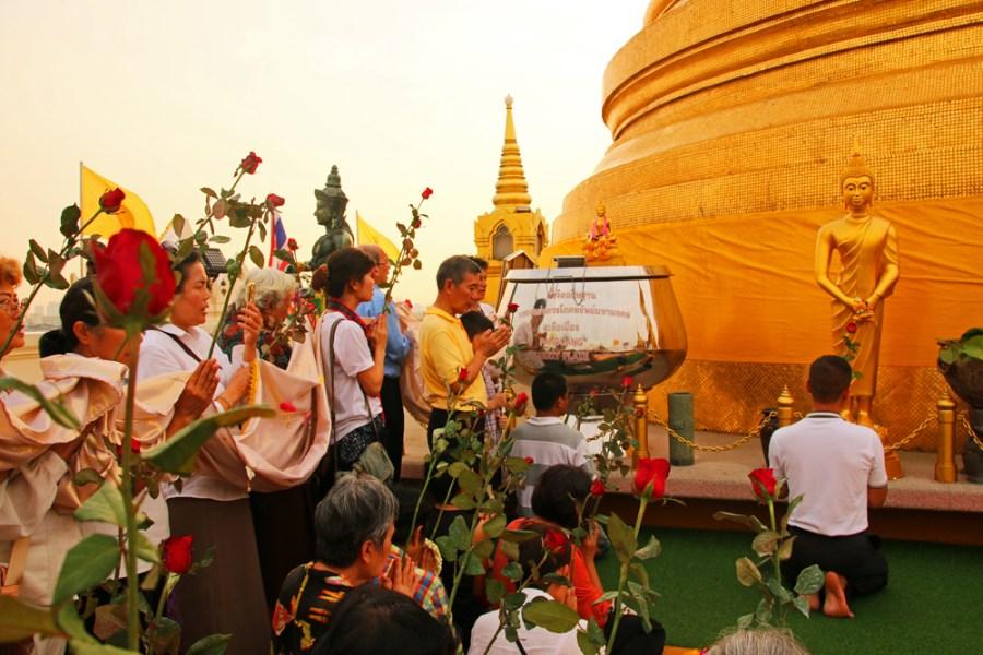 Prayer ceremony Golden Mount Bangkok Thailand