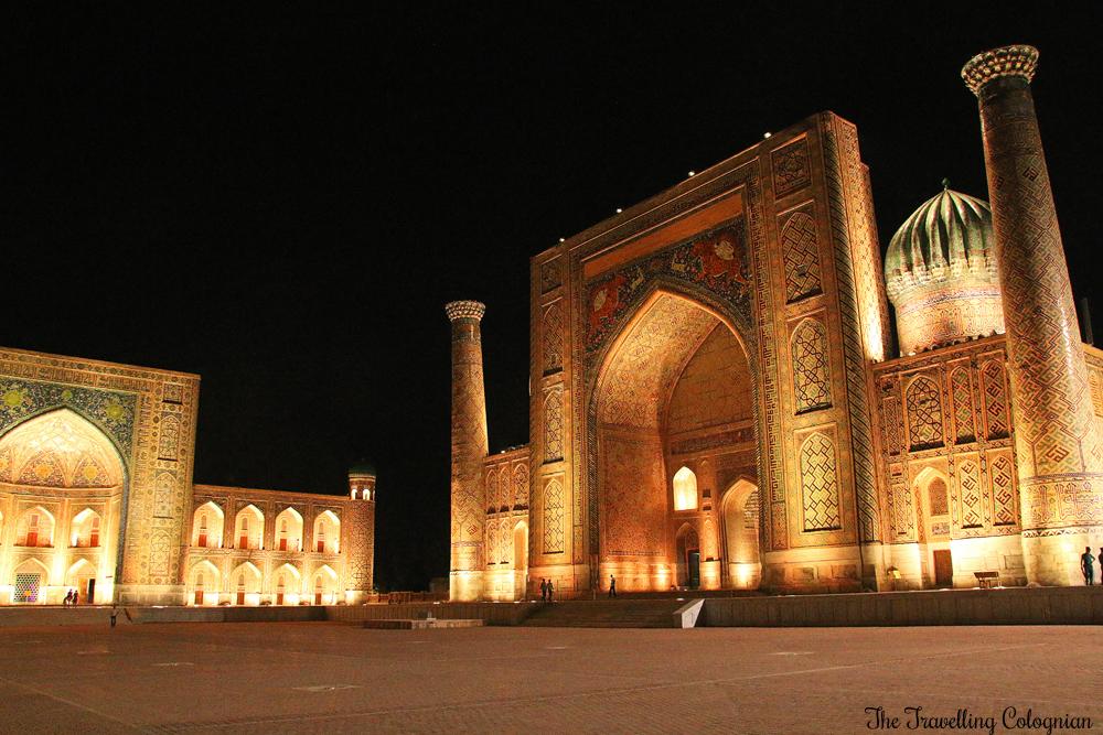 Die Juwelen von Samarkand - die Sherdor Medrese bei Nacht
