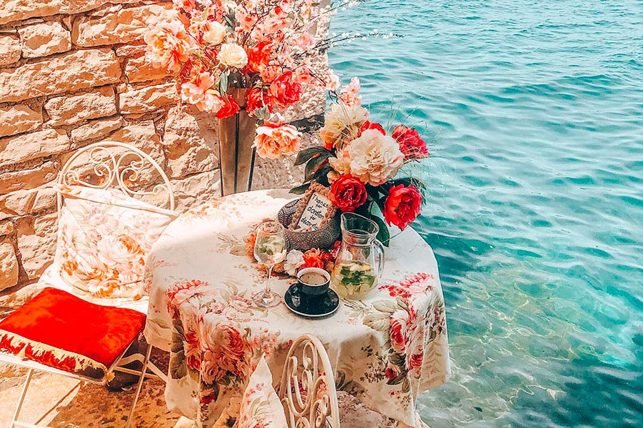 The most beautiful photo spot is a table at the sea