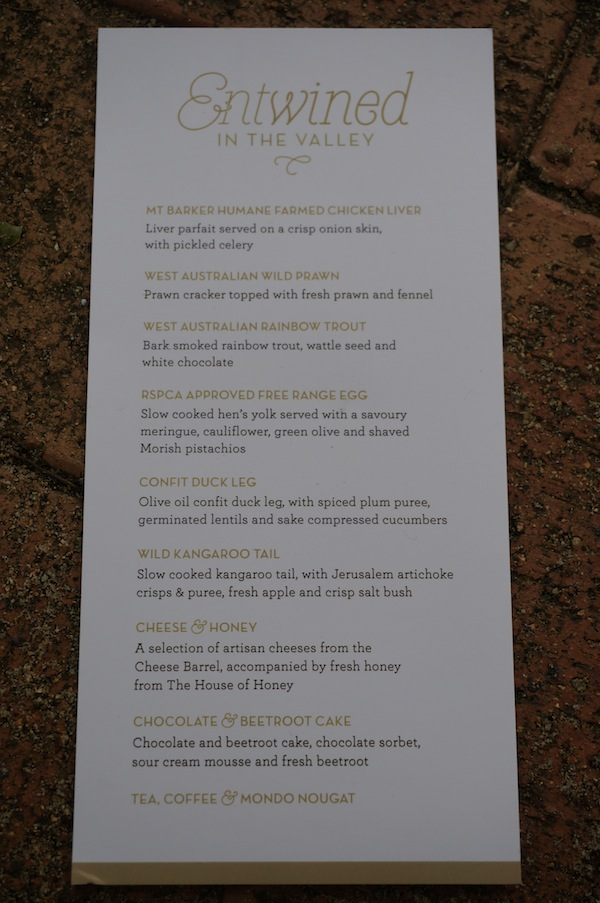 Entwined in the Valley 2014 Menu