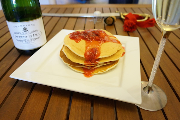 Champagne Pancakes & Strawberry Champagne Syrup